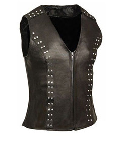 Very-Sexy-Womens-Ladies-Real-Black-Leather-Bikers-Waistcoat-Vest-W5