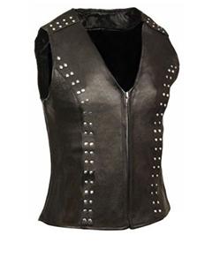 Very-Sexy-Womens-Ladies-Real-Black-Leather-Bikers-Waistcoat-Vest-W5