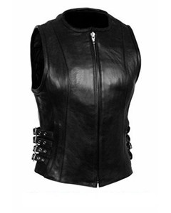 Very-Sexy-Womens-Ladies-Real-Black-Leather-Bikers-Waistcoat-Vest-W6