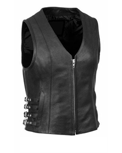 Very-Sexy-Womens-Ladies-Real-Black-Leather-Bikers-Waistcoat-Vest-W7