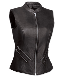 Very-Sexy-Womens-Ladies-Real-Leather-Black-Bikers-Waistcoat-Vest-W9