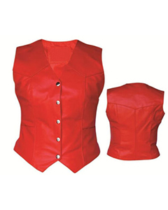 Very-Sexy-Womens-Ladies-Real-Red-SHEEP-LAMB-Leather-Bikers-Waistcoat-Vest-W8