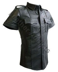 Very-sexy-Mens-Pure-LEATHER-Police-Uniform-Shirt-BLUF-Gay