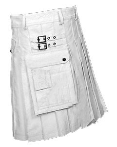 WHITE-Leather-Gladiator-Pleated-Kilt-K5-WHT