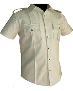 WHITE-Very-sexy-Mens-Pure-LEATHER-Police-Uniform-Shirt-BLUF-Gay