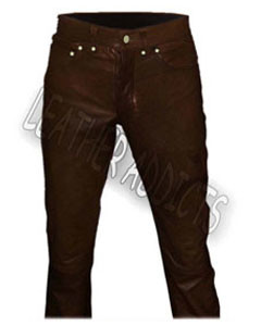 Genuine-BROWN-Cow-Leather-Sleek-Sexy-501-Style-Jeans-1