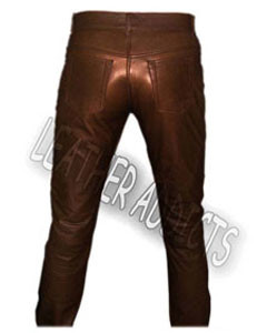 Genuine-BROWN-Cow-Leather-Sleek-Sexy-501-Style-Jeans-2