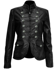 Ladies-Black-Pure-Soft-Sheep-NAPPA-Leather-Military-Syle-Steampunk-Jacket-MJ1-1