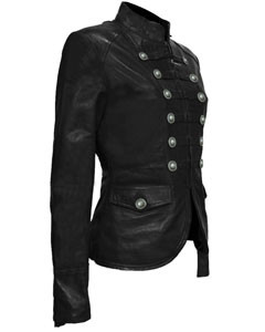 Ladies-Black-Pure-Soft-Sheep-NAPPA-Leather-Military-Syle-Steampunk-Jacket-MJ1-3