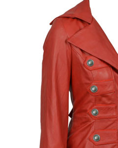 Ladies-Real-Red-Nappa-Sheep-Lambs-Leather-Steampunk-Goth-Style-Trench-Coat-T11-4