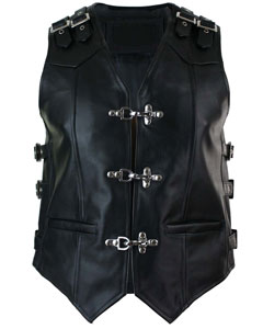 MENS-REAL-COW-LEATHER-BLACK-MOTORCYCLE-BIKER-STYLE-VEST-WAISTCOAT-B23-3