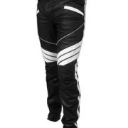 MENS-SEXY-REAL-BLACK-WHITE-LEATHER-MOTORCYCLE-BIKERS-PANTS-JEANS-TROUSER-J5WHT-2