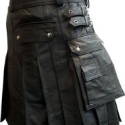 Mens-100-Pure-Leather-Gladiator-Pleated-Kilt-LARP-With-Choice-of-Length