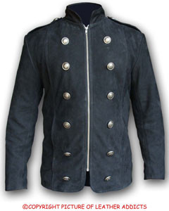 Mens-Pure-BLACK-NUBUCK-Leather-Military-Style-Steampunk-Jacket-SPJ3-BLK-1