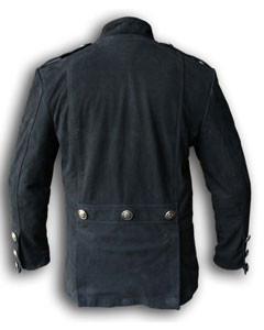 Mens-Pure-BLACK-NUBUCK-Leather-Military-Style-Steampunk-Jacket-SPJ3-BLK-2