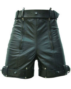 Mens-Pure-Leather-Chastity-Bondage-Shorts-Locking-REAR-ZIP-CS-1