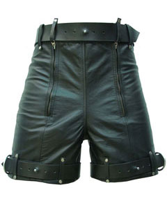 Mens-Pure-Leather-Chastity-Bondage-Shorts-Locking-REAR-ZIP-CS-1
