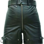 Mens-Pure-Leather-Chastity-Bondage-Shorts-Locking-REAR-ZIP-CS-2