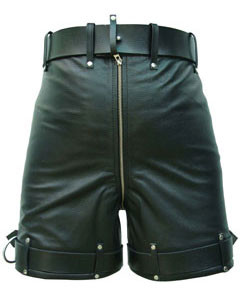 Mens-Pure-Leather-Chastity-Bondage-Shorts-Locking-REAR-ZIP-CS-2