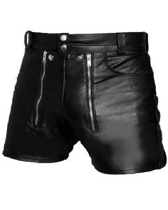 Mens-REAL-Sexy-Black-Leather-Chastity-Gay-Bondage-Shorts-REAR-ZIP-CS2-1