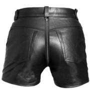 Mens-REAL-Sexy-Black-Leather-Chastity-Gay-Bondage-Shorts-REAR-ZIP-CS2-2