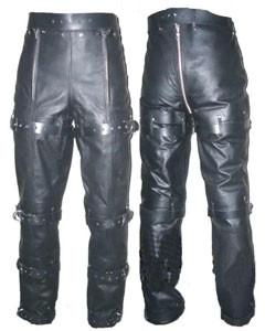 NEW-Mens-Pure-Leather-Locking-Bondage-Chastity-Jeans-With-Rear-Zip-BLUF