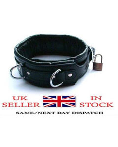 REAL-LEATHER-Heavy-Duty-Bondage-Neck-Collar-Puppy-Pet-play-NECK-REST-BLK