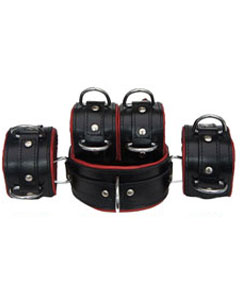 REAL-Top-Grain-RED-Black-5-Leather-Bondage-Restraints-IN-STOCK-SAME-DAY-DISPATCH-1