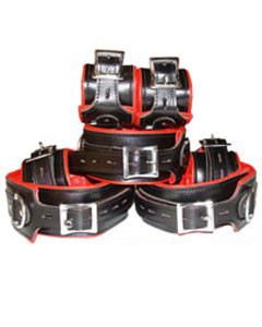 REAL-Top-Grain-RED-Black-Leather-Full-Set-of-7-Bondage-Restraints-01