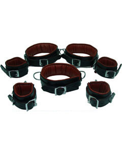 REAL-Top-Grain-RED-Black-Leather-Full-Set-of-7-Bondage-Restraints-02