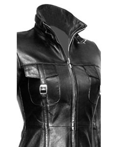 Sexy-Ladies-Real-Black-Nappa-Sheep-Leather-Steampunk-Goth-Style-Trench-Coat-T14-3