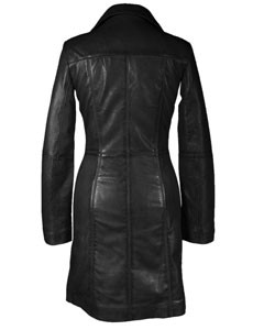 Sexy-Ladies-Real-Black-Nappa-Sheep-Leather-Steampunk-Goth-Style-Trench-Coat-T16-4