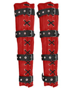 Sexy-Red-Black-Set-of-4-REAL-Cow-Leather-Bondage-Arm-Leg-Binders-1