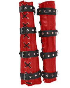 Sexy-Red-Black-Set-of-4-REAL-Cow-Leather-Bondage-Arm-Leg-Binders-2