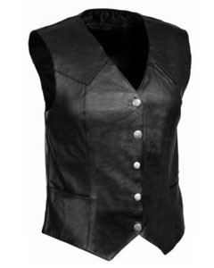 Very-Sexy-Womens-Ladies-Real-Black-Leather-Bikers-Waistcoat-Vest-W8