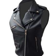 Very-Sexy-Womens-Ladies-Real-Black-Leather-Brando-Style-Bikers-Waistcoat-Vest