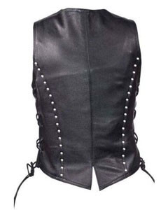 Very-Sexy-Womens-Ladies-Real-Leather-Biker-Style-Black-Vest-W10-3