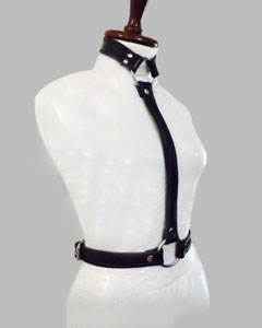 WOMENS-LADIES-SEXY-SLIM-BLACK-REAL-LEATHER-BODY-COLLAR-HARNESS-LH1-1
