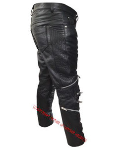 Mens-Sexy-Real-Black-Leather-Motorcycle-Bikers-Pants-Jeans-Trousers-J7-5