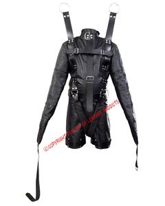 Mens-Real-Black-Leather-Straight-Jacket-&-Chastity-Bondage-Shorts-Combo-Rear-Zip-4