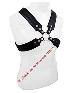 Mens-REAL-Black-Leather-Chest-Body-Harness-Gay-Bondage-Club-LARP-(H8)-3