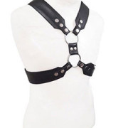 Mens-REAL-Black-Leather-Chest-Body-Harness-Gay-Bondage-Club-LARP-H9-3