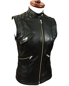 Sexy-Womens-Ladies-Real-BLACK-SHEEP-LAMB-Leather-Bikers-Waistcoat-VestW11-1