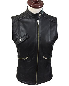 Sexy-Womens-Ladies-Real-BLACK-SHEEP-LAMB-Leather-Bikers-Waistcoat-VestW11-2