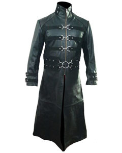 Mens-Real-Black-Leather-Goth-Matrix-Trench-Coat-Steampunk-Gothic-Van-Helsing-T21-2