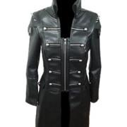 Black-WOMEN-SHEEP-Leather-Goth-Matrix-Trench-Coat-Steampunk-Military-Jacket-T22-1