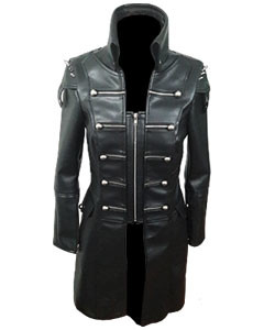 Black-WOMEN-SHEEP-Leather-Goth-Matrix-Trench-Coat-Steampunk-Military-Jacket-T22-1