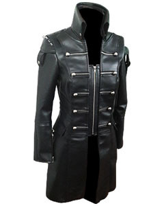 Black-WOMEN-SHEEP-Leather-Goth-Matrix-Trench-Coat-Steampunk-Military-Jacket-T22-2