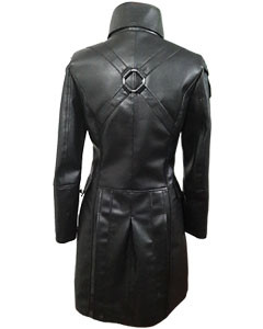 Black-WOMEN-SHEEP-Leather-Goth-Matrix-Trench-Coat-Steampunk-Military-Jacket-T22-3