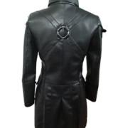 Black-WOMEN-SHEEP-Leather-Goth-Matrix-Trench-Coat-Steampunk-Military-Jacket-T22-4